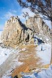 Утес шамана Burkhan накидки на острове Olkhon на озере Байкал Стоковое Изображение RF