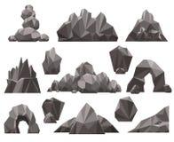 Утес шаржа 3d и комплект камня иллюстрация вектора