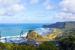 Утес льва на пляже Окленде Новой Зеландии Piha Стоковое Изображение