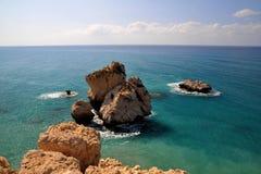 утес s Кипра Афродиты Стоковая Фотография