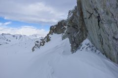 Утес Snowy, Passo Tonale, Италия Стоковое Фото