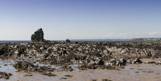 Утес Thurlestone на пляже Девоне Стоковое фото RF