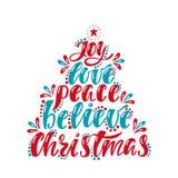 Утеха, влюбленность, мир, верит, рождество Надпись почерка для поздравительной открытки, приглашения, открытки, печати, плаката иллюстрация вектора
