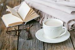 Утешьте чай с теплыми шотландкой и помадками шерстей Стоковое Фото