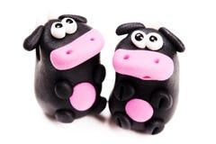 утка глины предпосылки eggs изолированная формой белизна игрушек 2 гнездя Стоковая Фотография