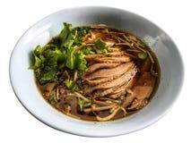 Утка и овощной суп в белом шаре, тайское традиционном Стоковое Фото