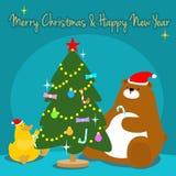 Утка медведя украшает иллюстрацию рождественской елки бесплатная иллюстрация