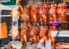 Утки жаркого на дисплее на китайском ресторане в Лондоне Chinato Стоковые Фотографии RF