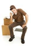 утомлянный движенец работника доставляющего покупки на дом Стоковые Фото