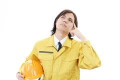 Утомленный и усиленный азиатский работник Стоковое Изображение RF