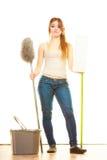 Утомленный пол женщины чистки mopping Стоковое фото RF