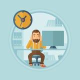 Утомленный работник неспособный для того чтобы справиться с крайним сроком иллюстрация вектора