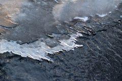 Утончите лед на малом реке Латвия, Европа стоковые изображения