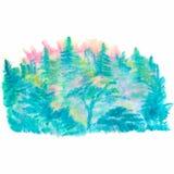 Утро акварели в лесе стоковое изображение