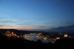 Утро восхода солнца горизонта Будапешта, Венгрии Стоковое Изображение RF