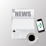 Утро газеты для кофе и новости vector иллюстрация Стоковая Фотография RF