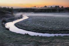 Утро живописный рассвет осени Река осени Стоковые Фото