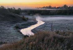 Утро живописный рассвет осени Река осени Стоковые Фотографии RF