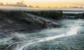 Утро живописный рассвет осени Река осени Стоковое Изображение