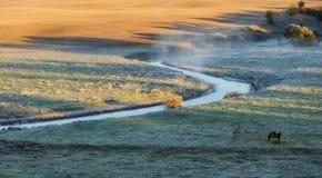 Утро живописный рассвет осени Река осени Стоковые Изображения RF