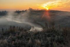 Утро живописный рассвет осени Река осени Стоковая Фотография RF