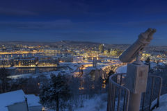 Утро зимы горизонта Осло Стоковая Фотография RF