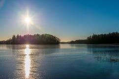 Утро зимы на озере Стоковая Фотография