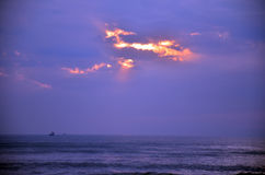 Утро и время восхода солнца на шляпе Chao Samran приставают к берегу Стоковое Изображение RF