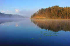 Утро на озере Ladoga Karelia Стоковые Фото