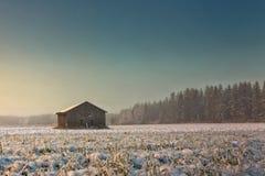 Утро на полях Snowy Стоковые Изображения RF