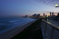 Утро на пляже Тель-Авив Стоковое Изображение RF