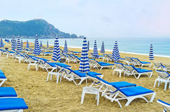 Утро на пляже Kleopatra Alanya Стоковая Фотография RF