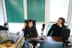 Утро дня и процесс записи радио и онлайн broa Стоковые Фотографии RF