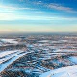 утро пущи морозное над космосами реки Стоковые Фото