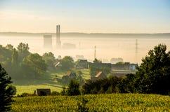 утро лужка тумана над водой стоковое фото rf