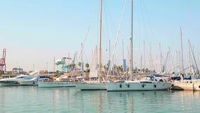 Утро яхт-клуба чудесное в порте значности Припаркованные яхты трясут на волнах Парусники припаркованы морем видеоматериал