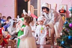 Утро ` s Нового Года в репортаже Lutsk 21 детского сада редакционном 12 2015 Стоковое фото RF
