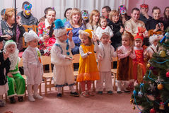 Утро ` s Нового Года в репортаже Lutsk 21 детского сада редакционном 12 2015 Стоковые Изображения RF