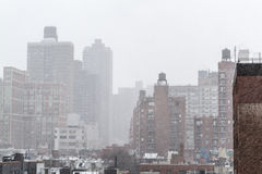 Утро Snowy от крыши в NYC Стоковая Фотография RF