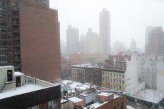 Утро Snowy от крыши в NYC Стоковые Изображения RF