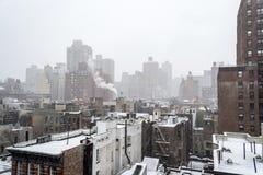 Утро Snowy от крыши в NYC Стоковое Изображение