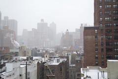 Утро Snowy от крыши в NYC Стоковое фото RF