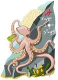Ухищренный осьминог пишет формулы Стоковое Фото
