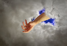 духовность руки бога принципиальной схемы стоковые фото