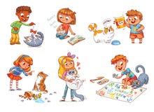 Уход за детями для кота также вектор иллюстрации притяжки corel иллюстрация вектора
