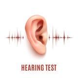 Ухо испытания слуха на белой предпосылке Стоковая Фотография