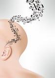 Ухо с музыкальными штатом и примечаниями Стоковые Изображения RF