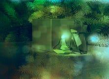 2 дух и подарочная коробка на предпосылке ели Стоковые Изображения RF