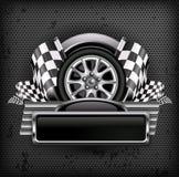 Участвовать в гонке эмблема на черноте & тексте Стоковое Изображение