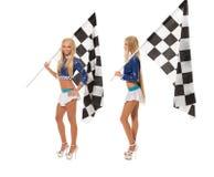 Участвуйте в гонке девушки представляя в студии, изолированной на белизне Стоковое Фото